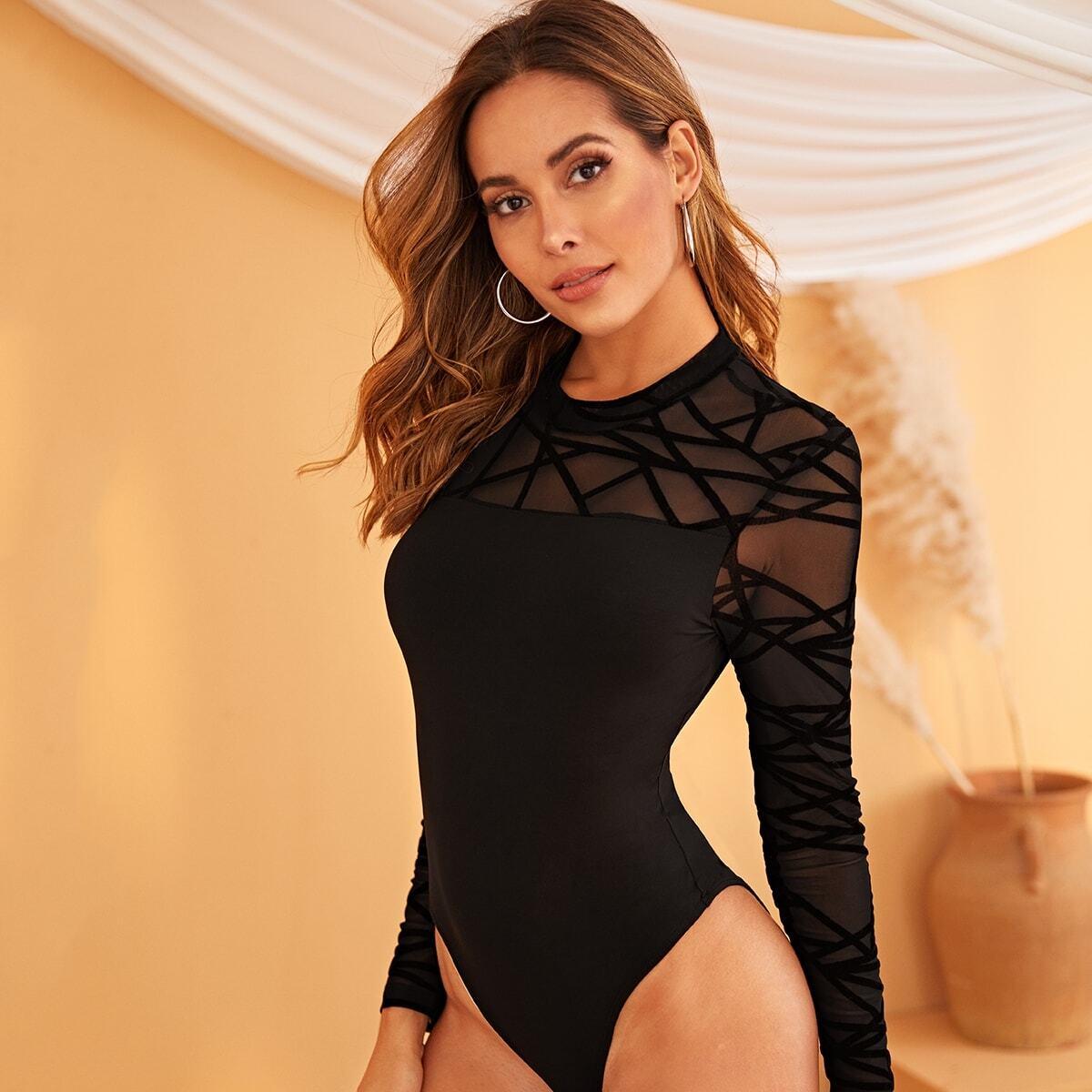 Zwart Sexy Vlak Bodysuits Zeeg