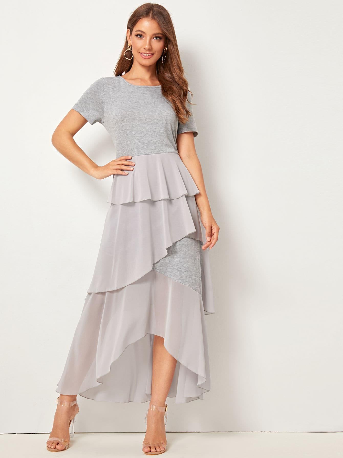 Фото - Асимметричное приталенное расклешенное платье с оборкой от SheIn цвет серые