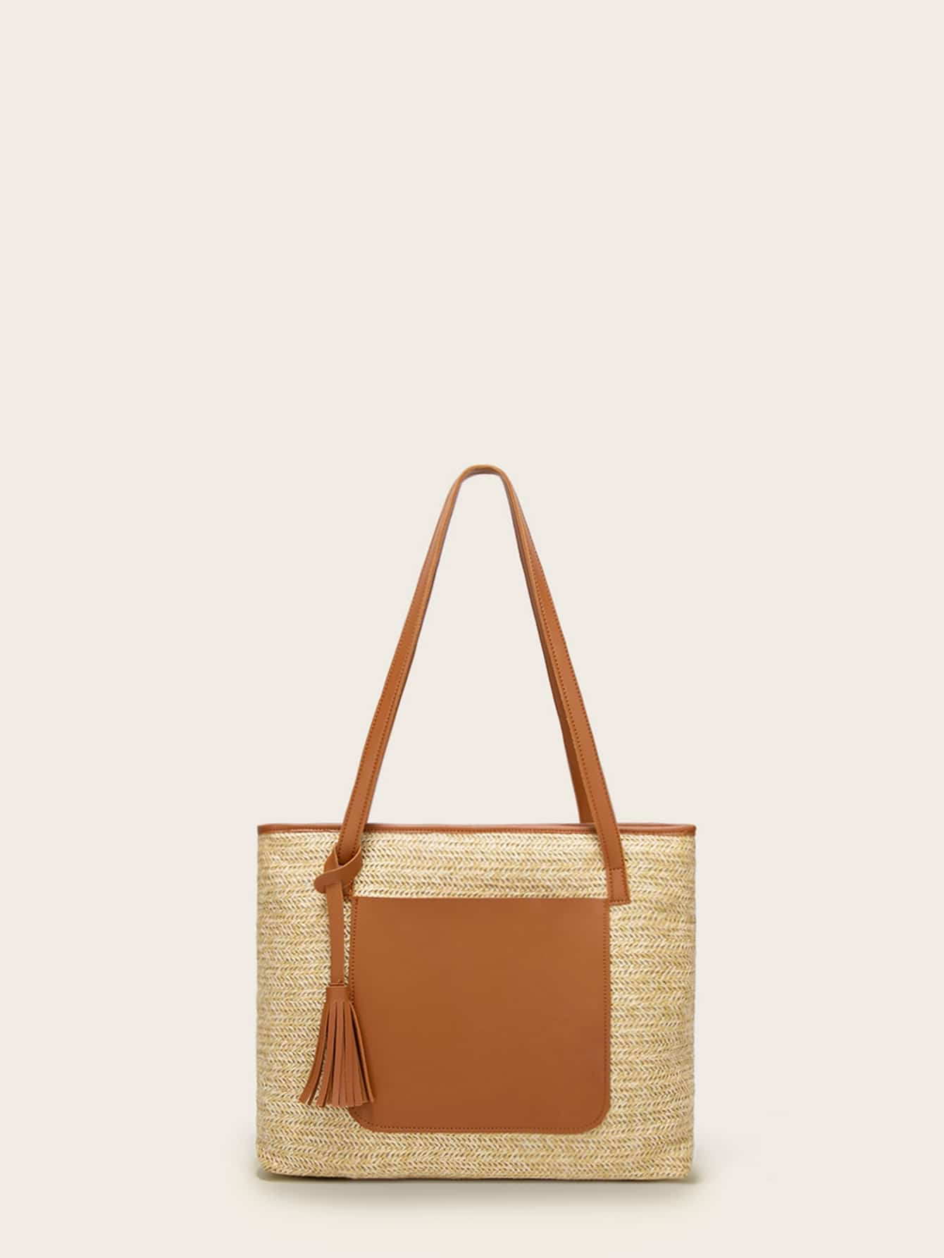 Фото - Большая сумка с карманами и кисточками от SheIn цвет коричный