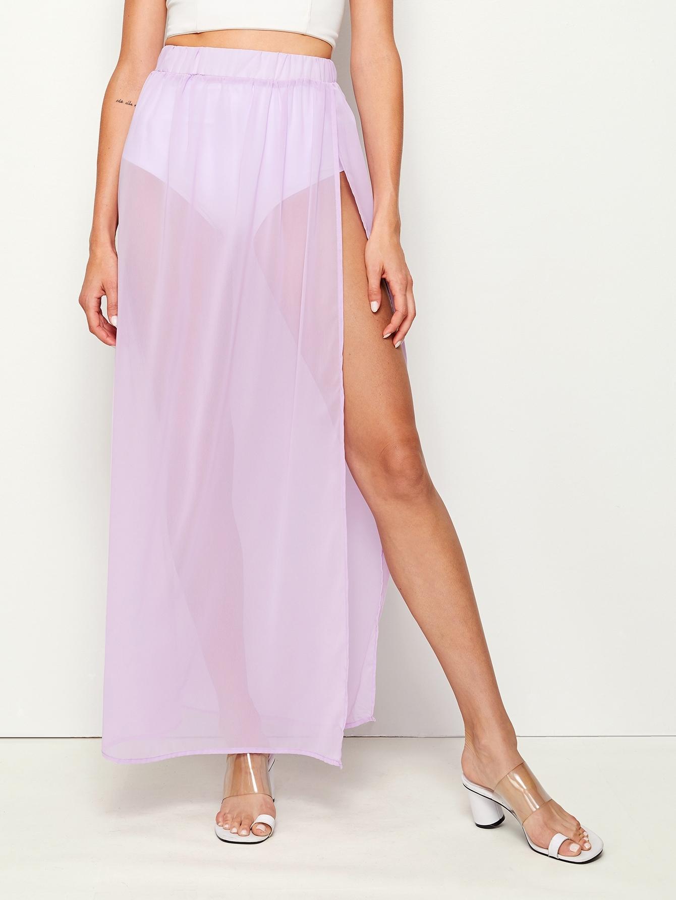 Фото - Прозрачная сетчатая юбка с эластичной талией от SheIn фиолетового цвета