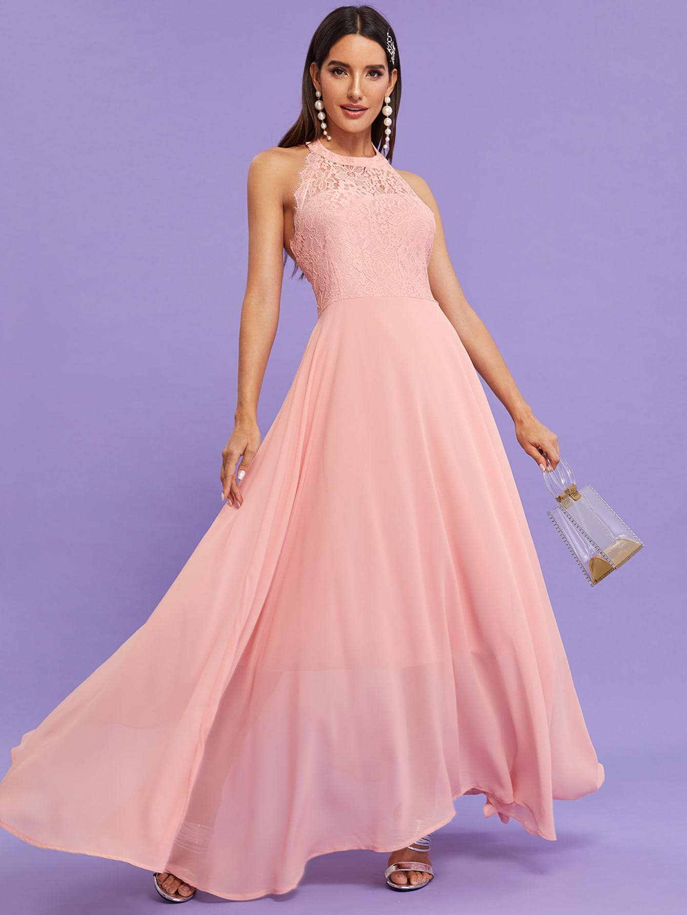 Фото - Платье с кружевом и открытой спинкой от SheIn цвет розовые