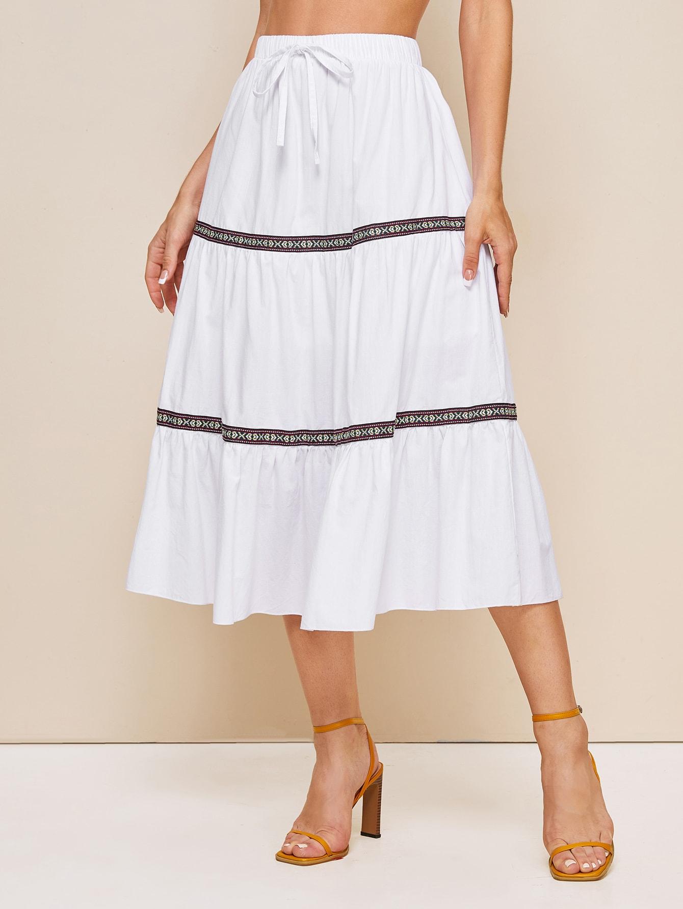 Фото - Стильная юбка на кулиске от SheIn белого цвета