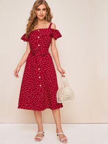 Polka Dot Button Front Flounce Trim Belted Dress