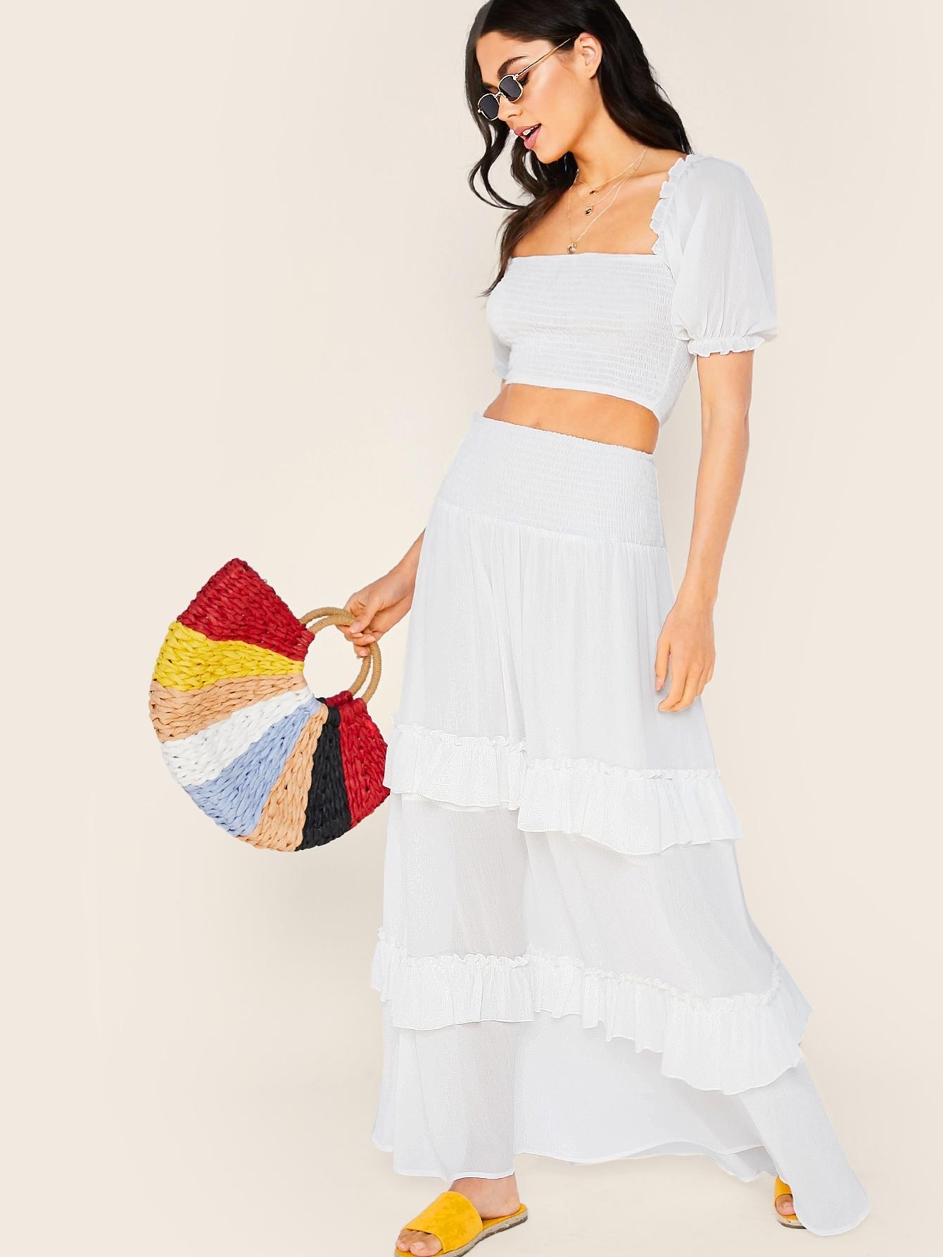 Фото - Длинная юбка и топ с рюшами от SheIn белого цвета