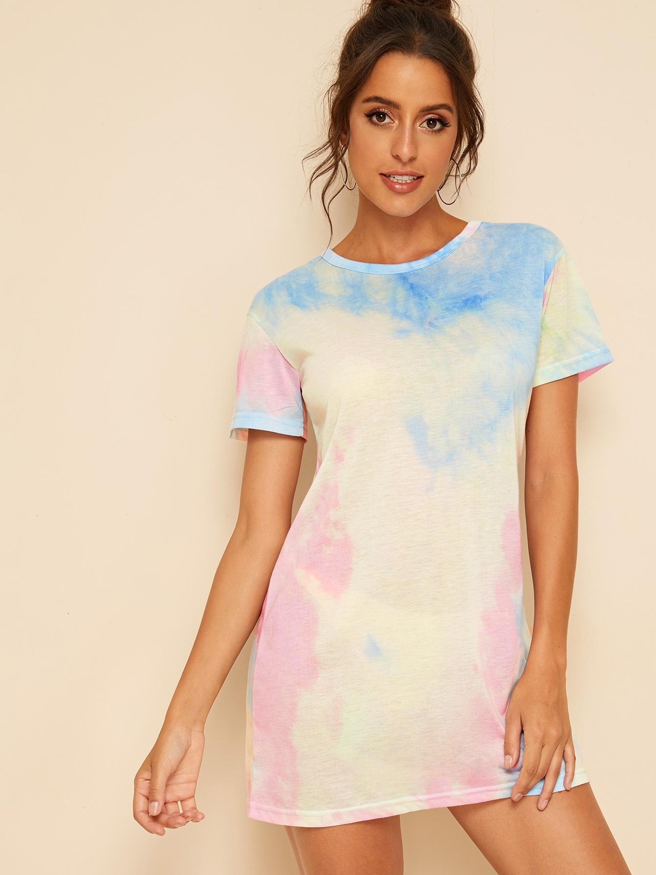 Фото - Разноцветное платье-футболка от SheIn цвет многоцветный