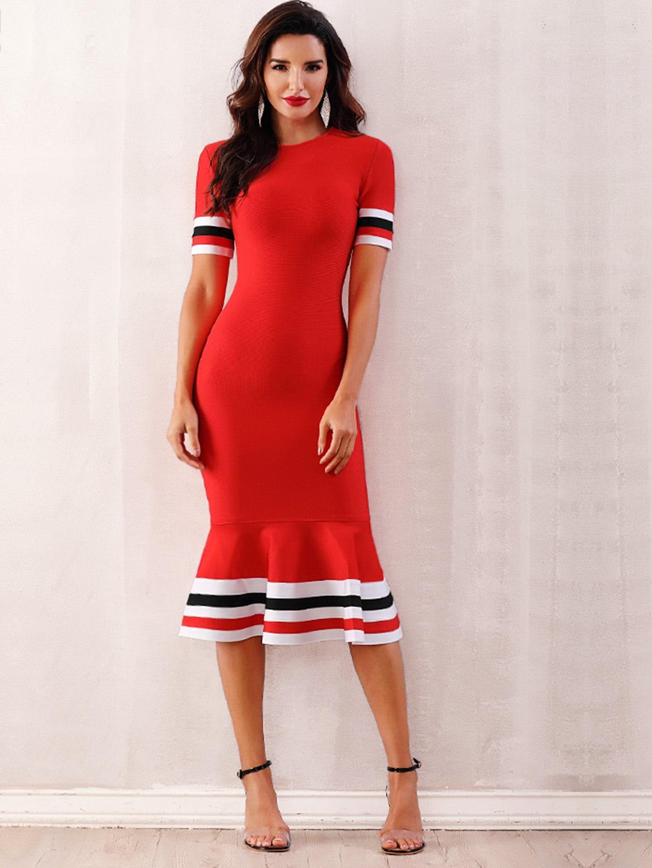 Adyce бандажное платье-русалка с полосками