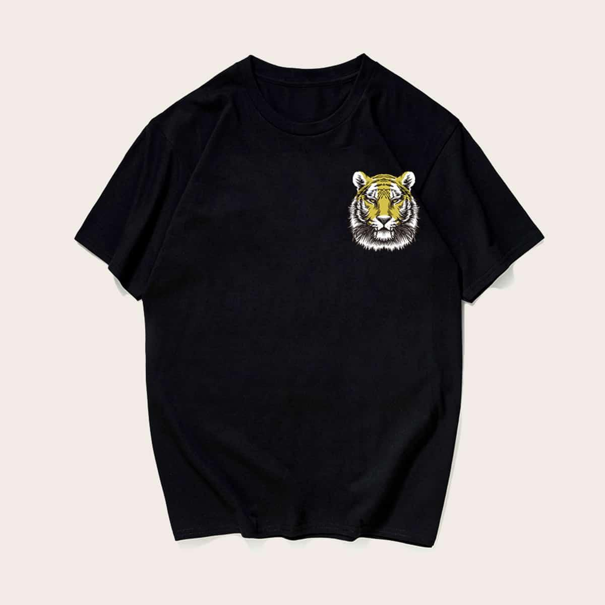 Zwart Casual Dieren Shirts mannen