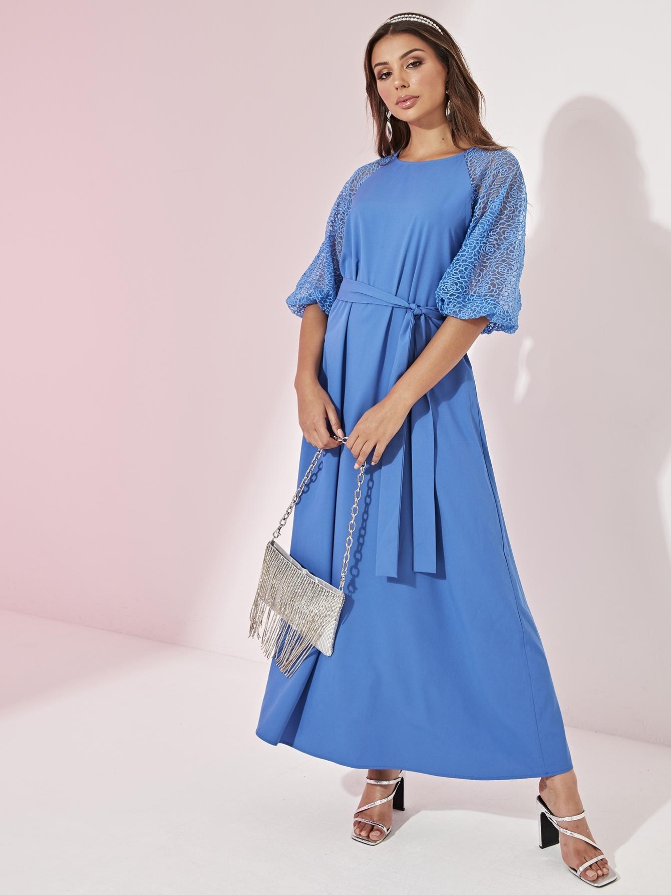 Фото - Платье с поясом, регланом рукавом и вышивкой от SheIn цвет синие