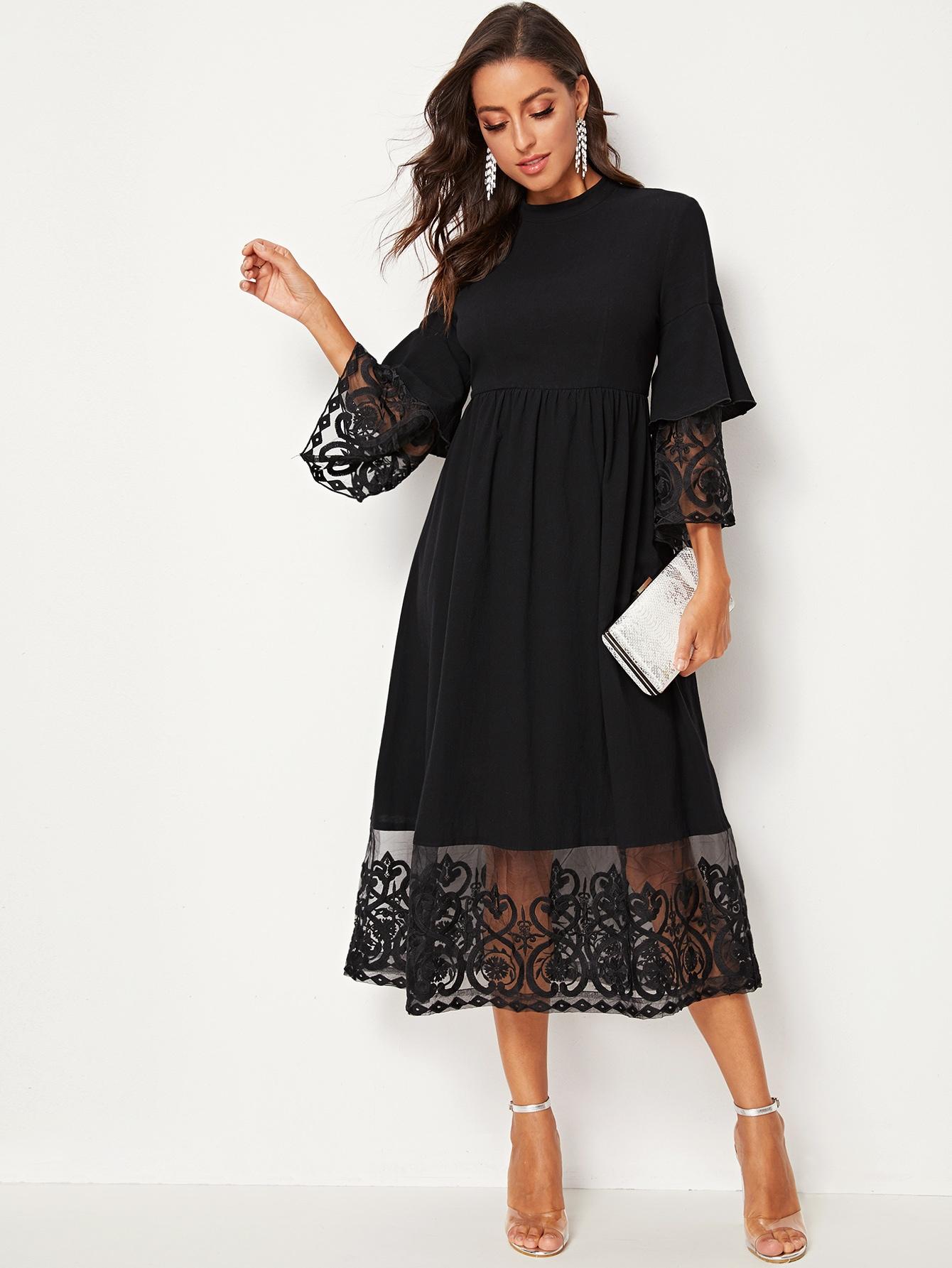 Фото - Платье со сетчатой вставкой, вышивкой и оригинальным рукавом от SheIn цвет чёрные