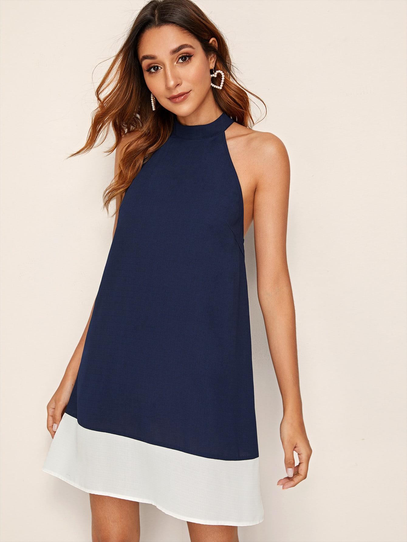 Фото - Платье с халтером, контрастной отделкой и застежкой сзади от SheIn цвет тёмно-синие