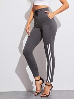 Drawstring Waist Pocket Striped Pants