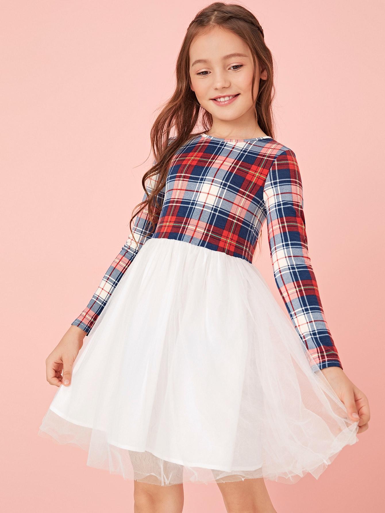 Фото - Расклешенное платье с графическим принтом для девочек от SheIn цвет многоцветный