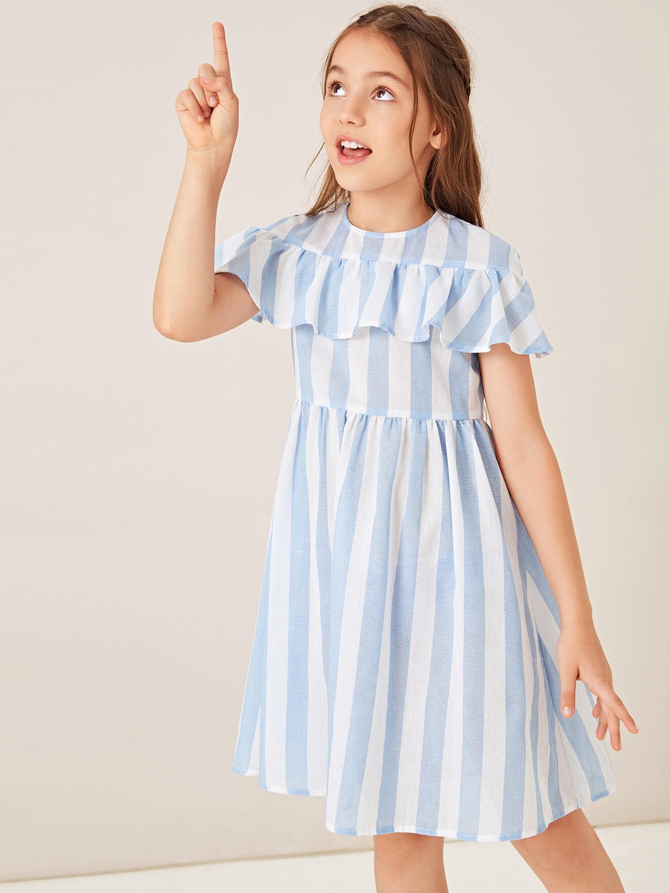 Фото - Полосатое платье с оборкой для девочек от SheIn цвет синие