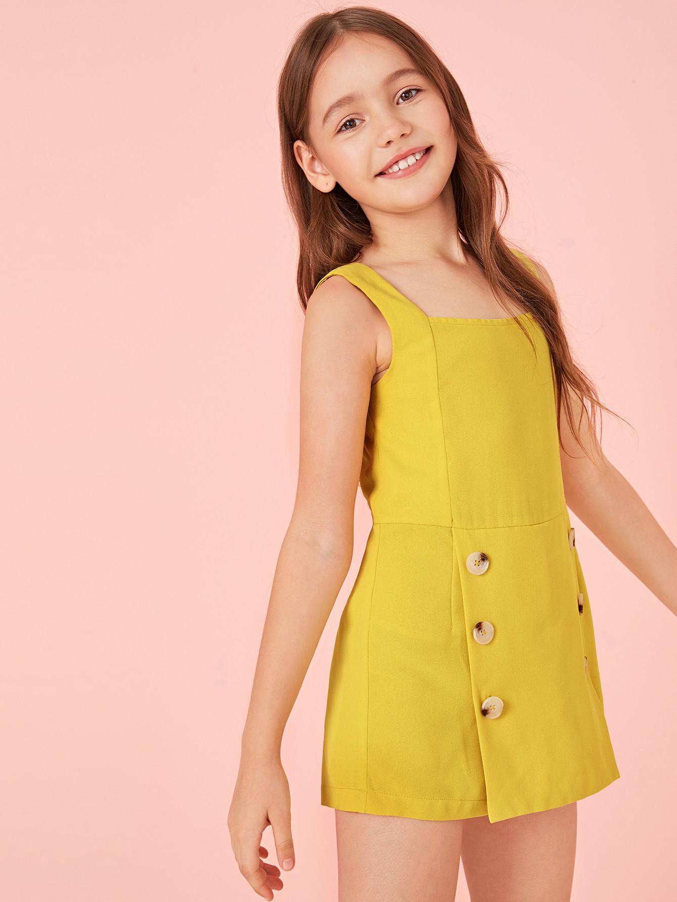 Фото - Комбинезон с пуговицами и молнией для девочек от SheIn желтого цвета