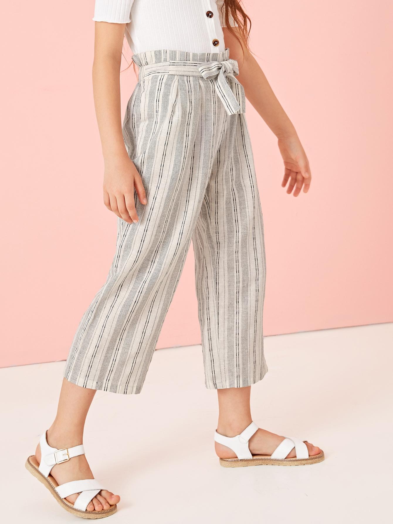Фото - Полосатые брюки с поясом и присборенной талией для девочек от SheIn цвет многоцветный