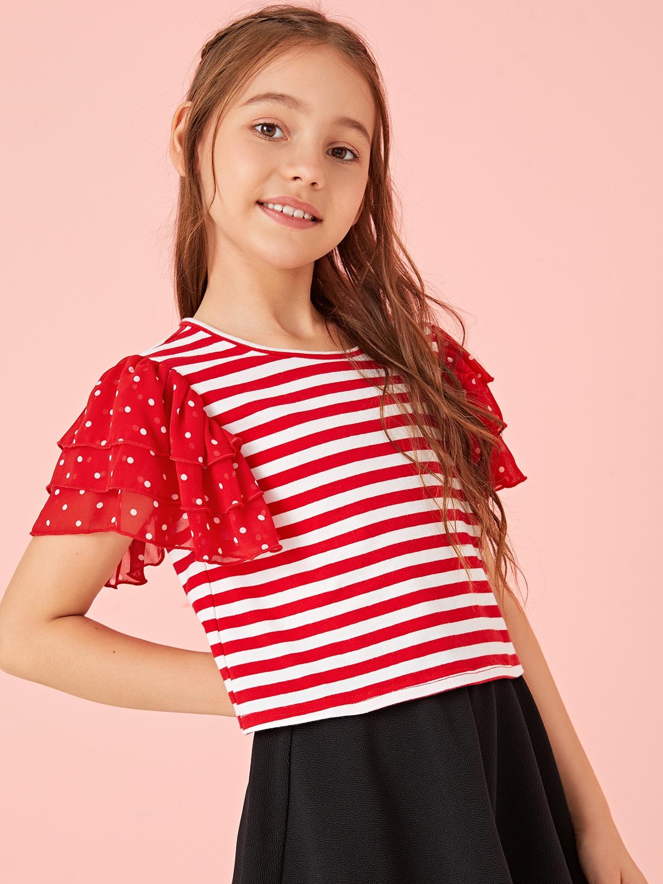 Фото - Топ в полоску с многослойными оборками для девочек от SheIn красного цвета