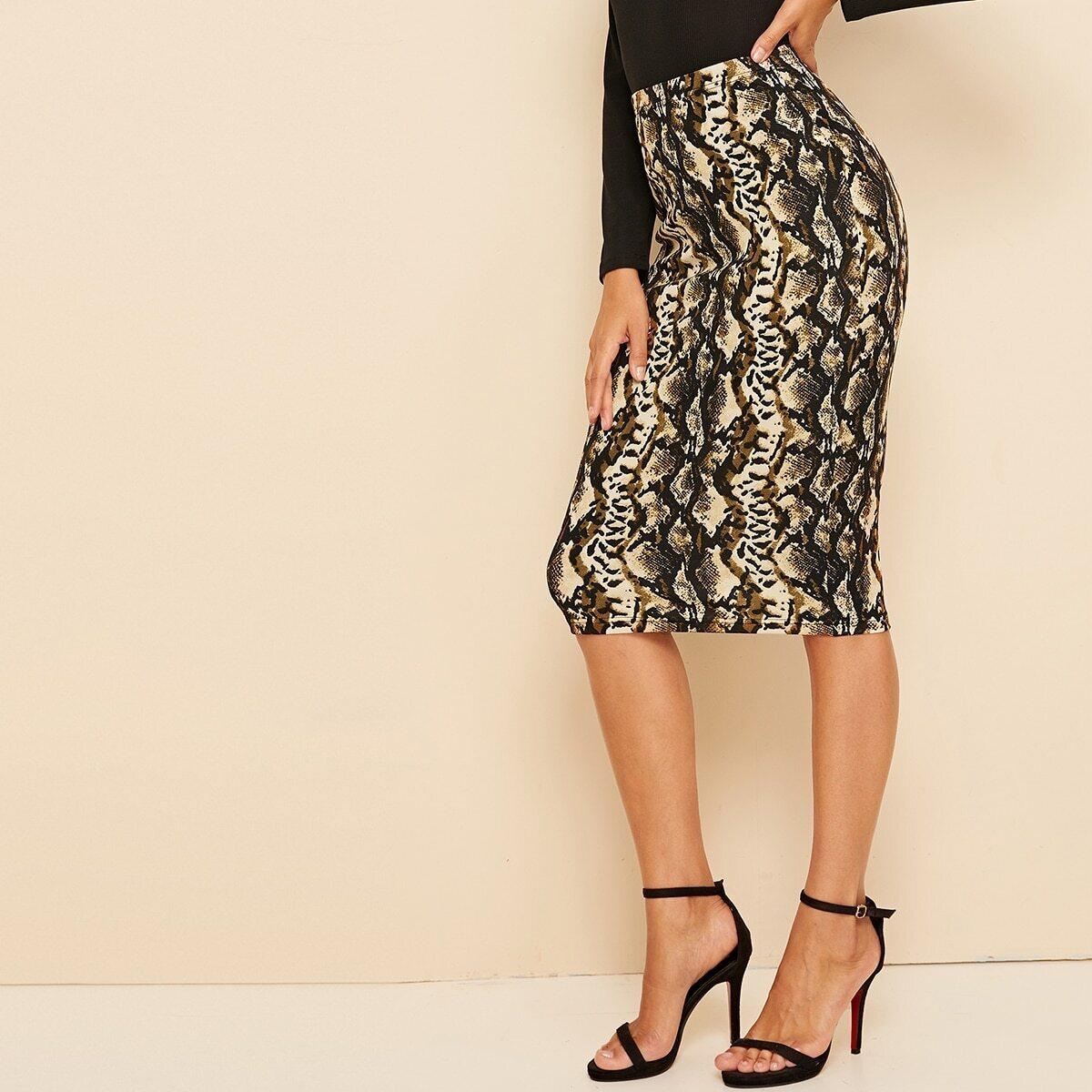 SHEIN / Falda lápiz con estampado de piel de serpiente de cintura alta
