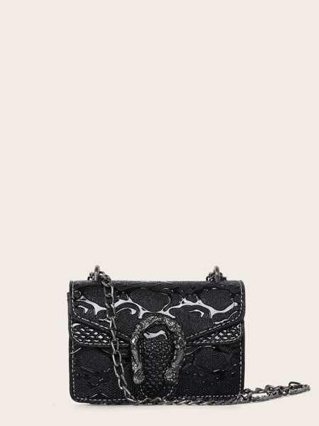 Textured Flap Chain Crossbody Bag