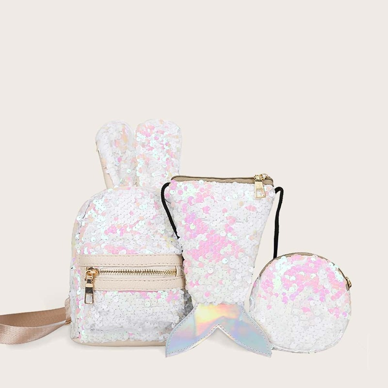 Sequins Decor Backpack With Crossbody Bag 3pcs, Multicolor