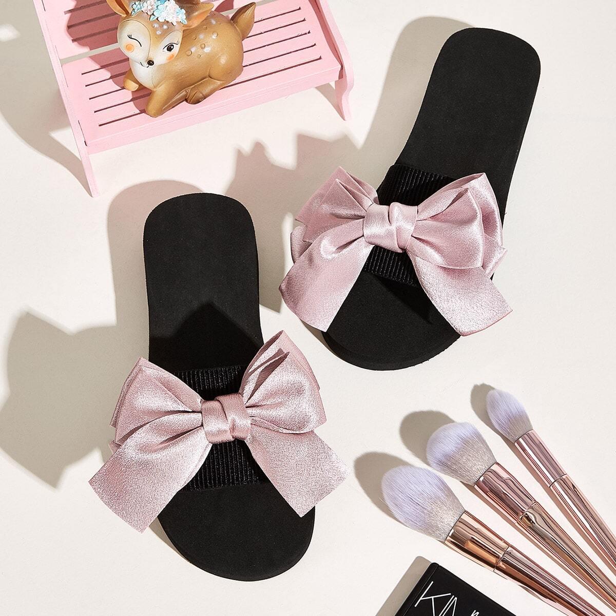 Тапочки с узлом и открытым носком от SHEIN