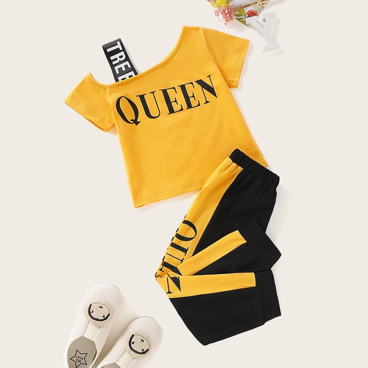 Контрастные брюки и футболка с текстовым принтом для девочек от SHEIN