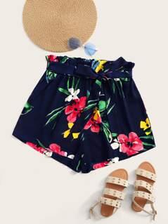 Plus Paperbag Waist Floral Print Shorts