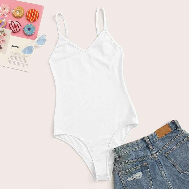 Solid Skinny Cami Bodysuit, White