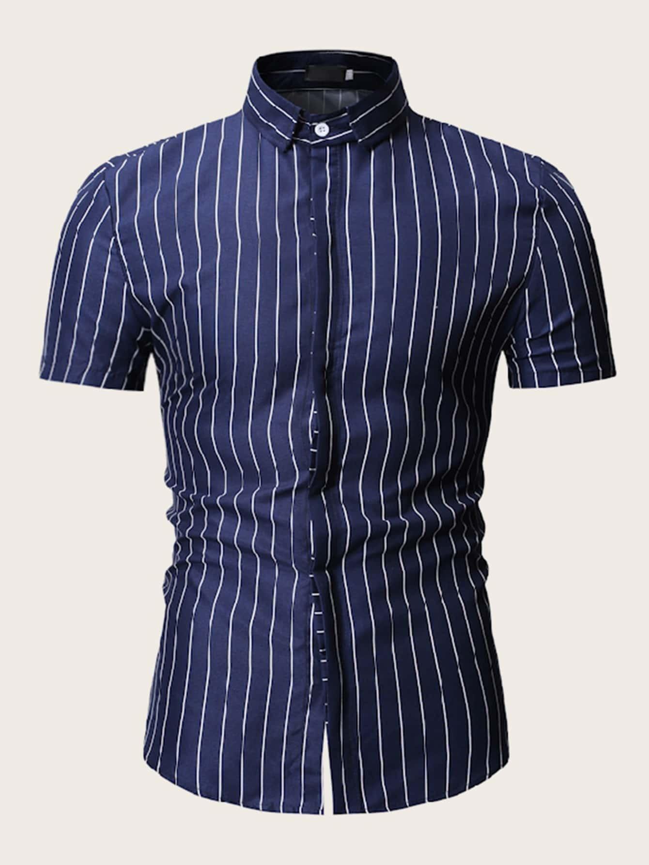 Фото - Мужская полосатая рубашка от SheIn цвет темно синий