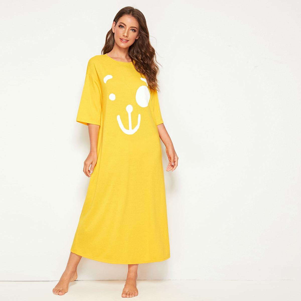 Geel Schattig Spotprent Lounge jurken