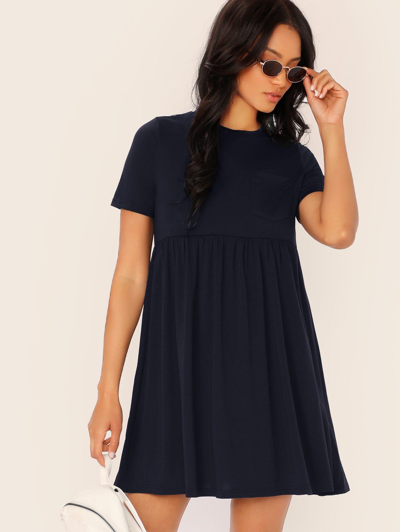 Фото - Однотонное платье с коротким рукавом от SheIn цвет тёмно-синие