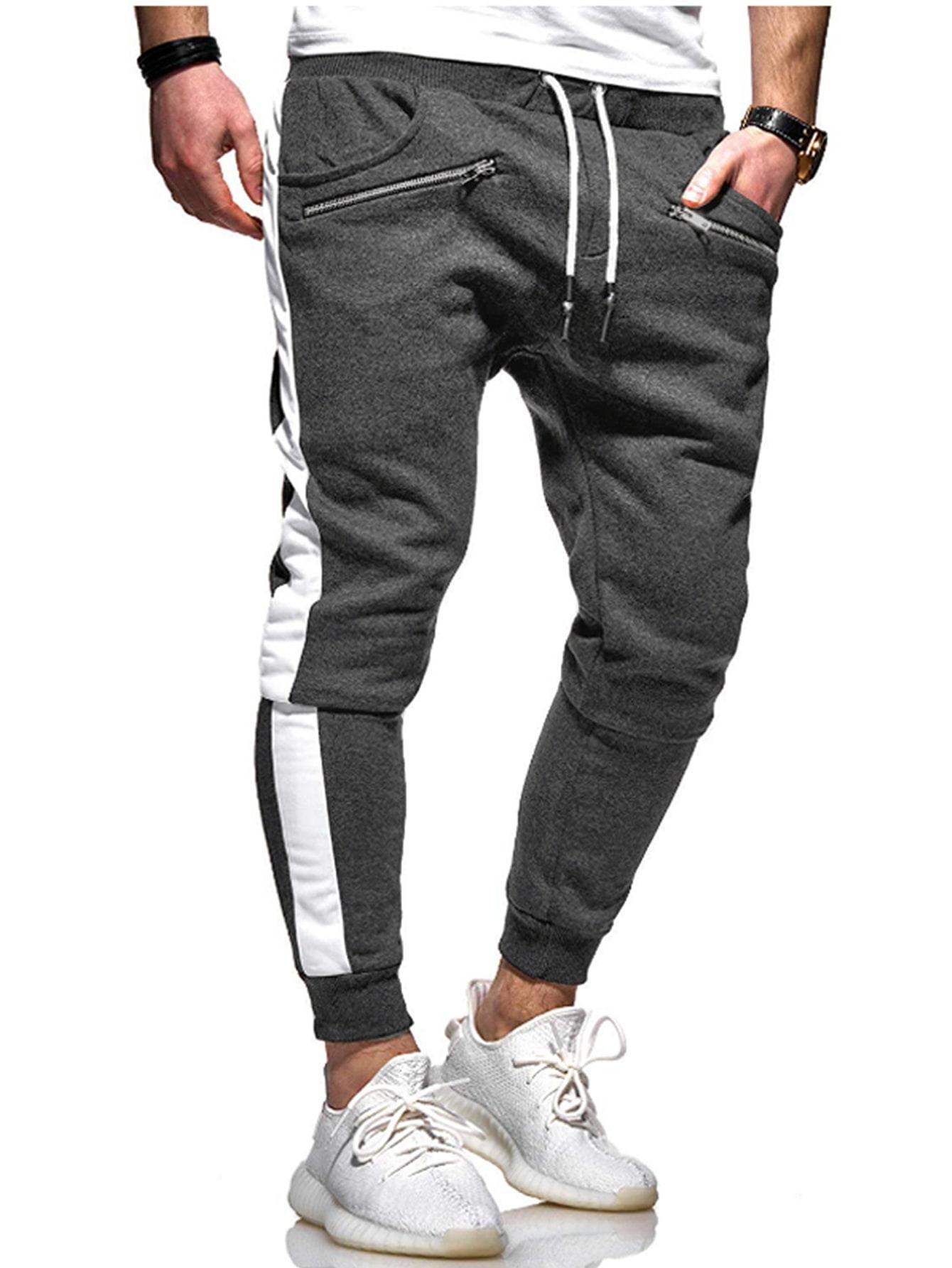 Фото - Мужские контрастные брюки с молнией от SheIn серого цвета