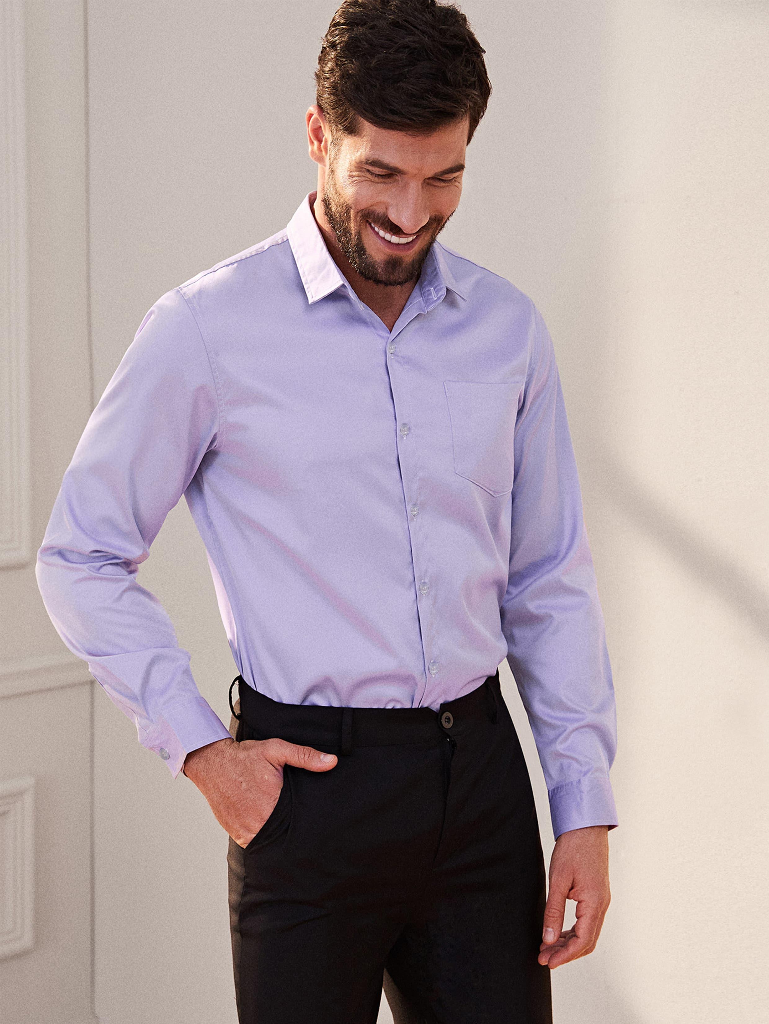 Фото - Мужская однотонная рубашка с длинным рукавом от SheIn фиолетового цвета