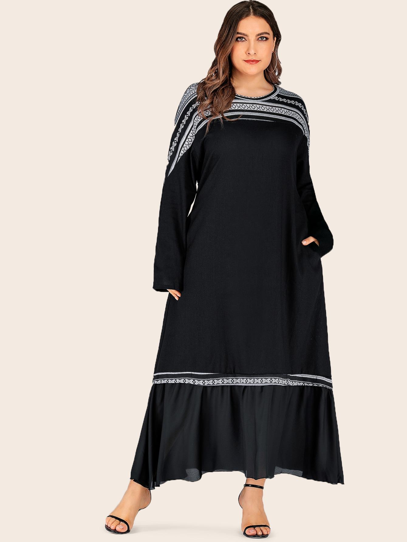 Фото - Длинное платье с модным принтом и оборками размера плюс от SheIn цвет чёрные