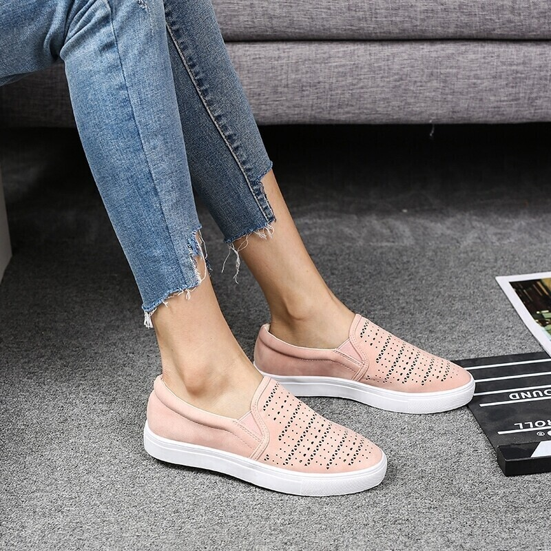 Hollow Out Slip On Sneakers, Pink
