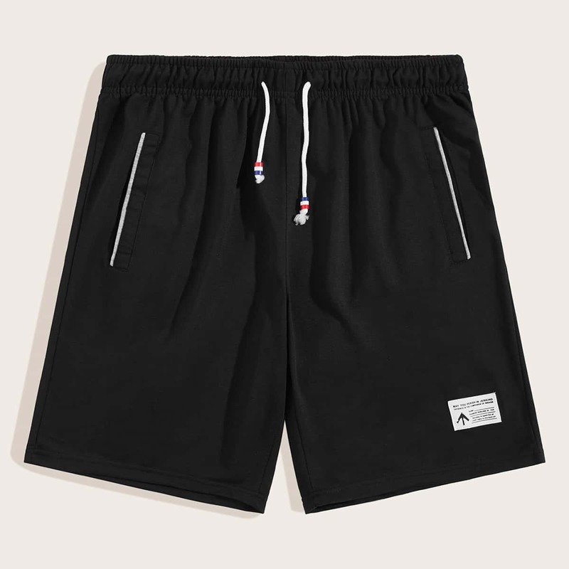 Guys Patched Drawstring Track Shorts, Black