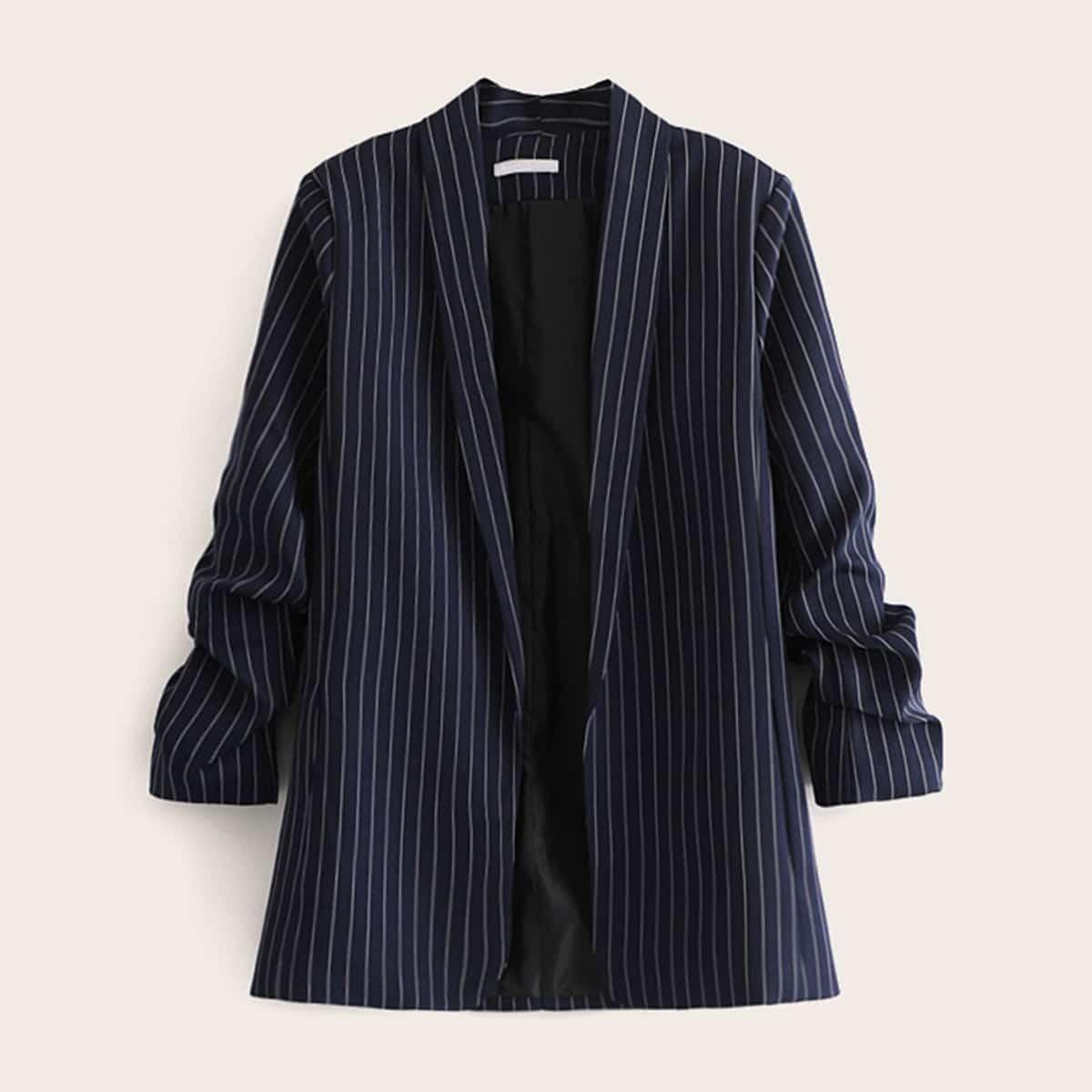 Пиджак в вертикальную полоску с оригинальным рукавом от SHEIN