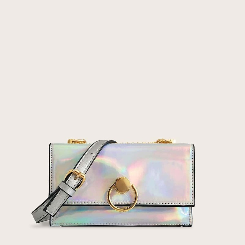 Iridescent Metal Ring Decor Crossbody Bag, Multicolor