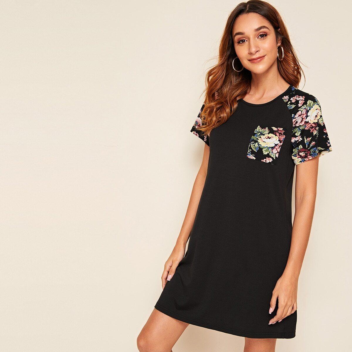 Платье с карманом, оригинальным рукавом и цветочным принтом