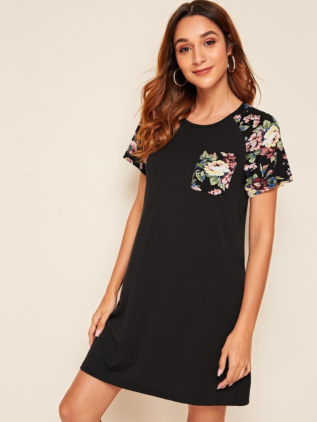 Фото - Платье с карманом, оригинальным рукавом и цветочным принтом от SheIn цвет чёрные