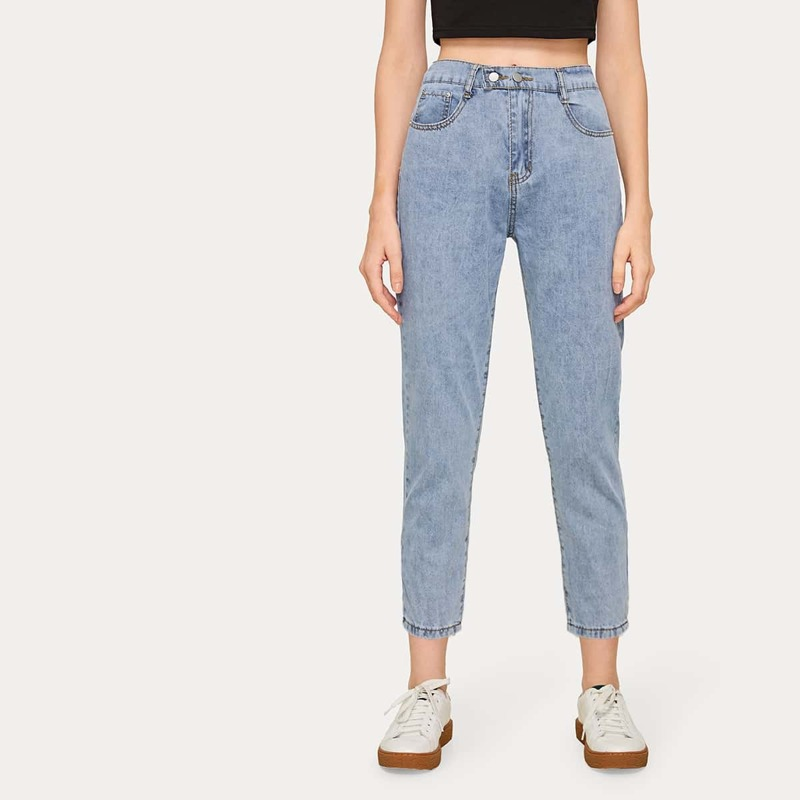 Straight Leg Flakes Cropped Jeans, Blue