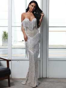 Length   Sequin   Floor   Dress
