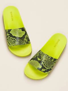 Neon Snake Print Band Thick Sole Slide Sandals