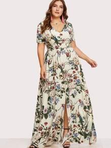 Plus Slit Button Up Front Floral Dress