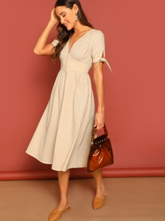 Knot Cuff Button Front Dress
