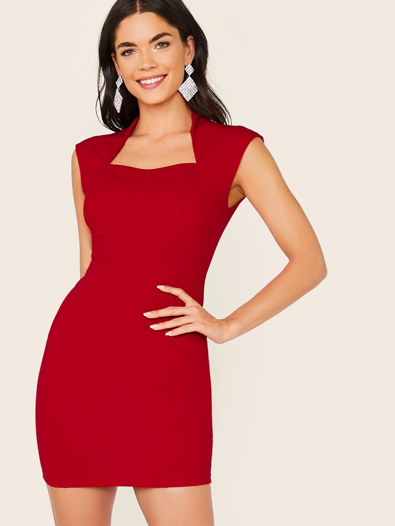 Фото - Однотонное облегающее платье от SheIn цвет бургундия