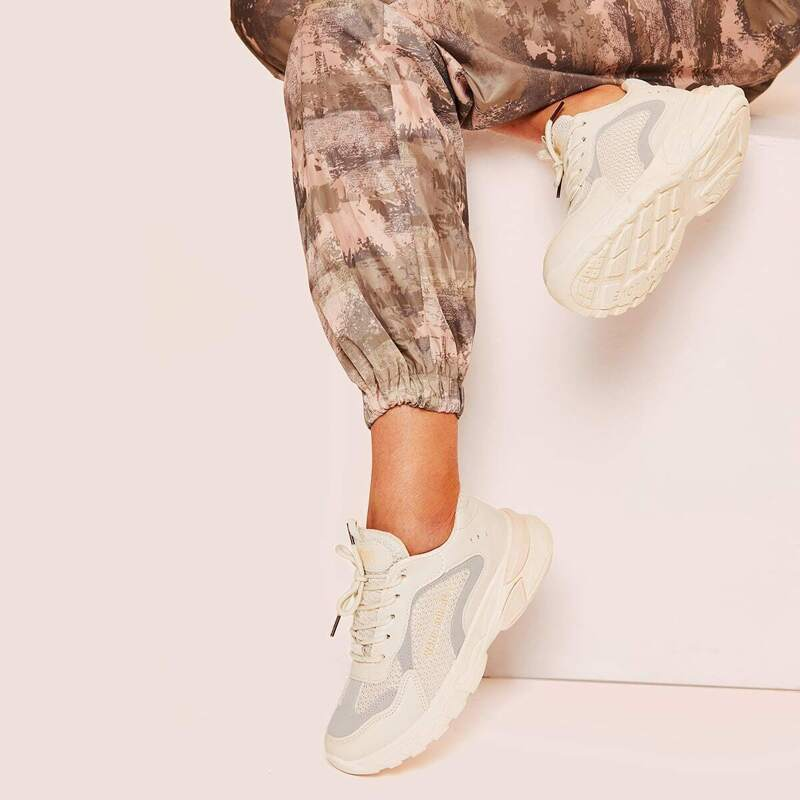 Lace-up Front Chunky Sole Trainers, Apricot