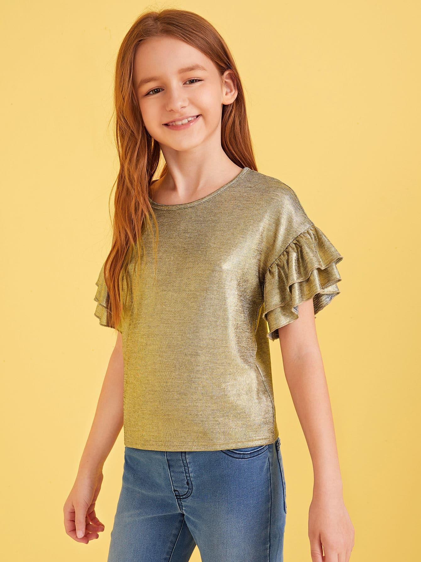 Фото - Метпллический топ с оборкой для девочек от SheIn золотого цвета