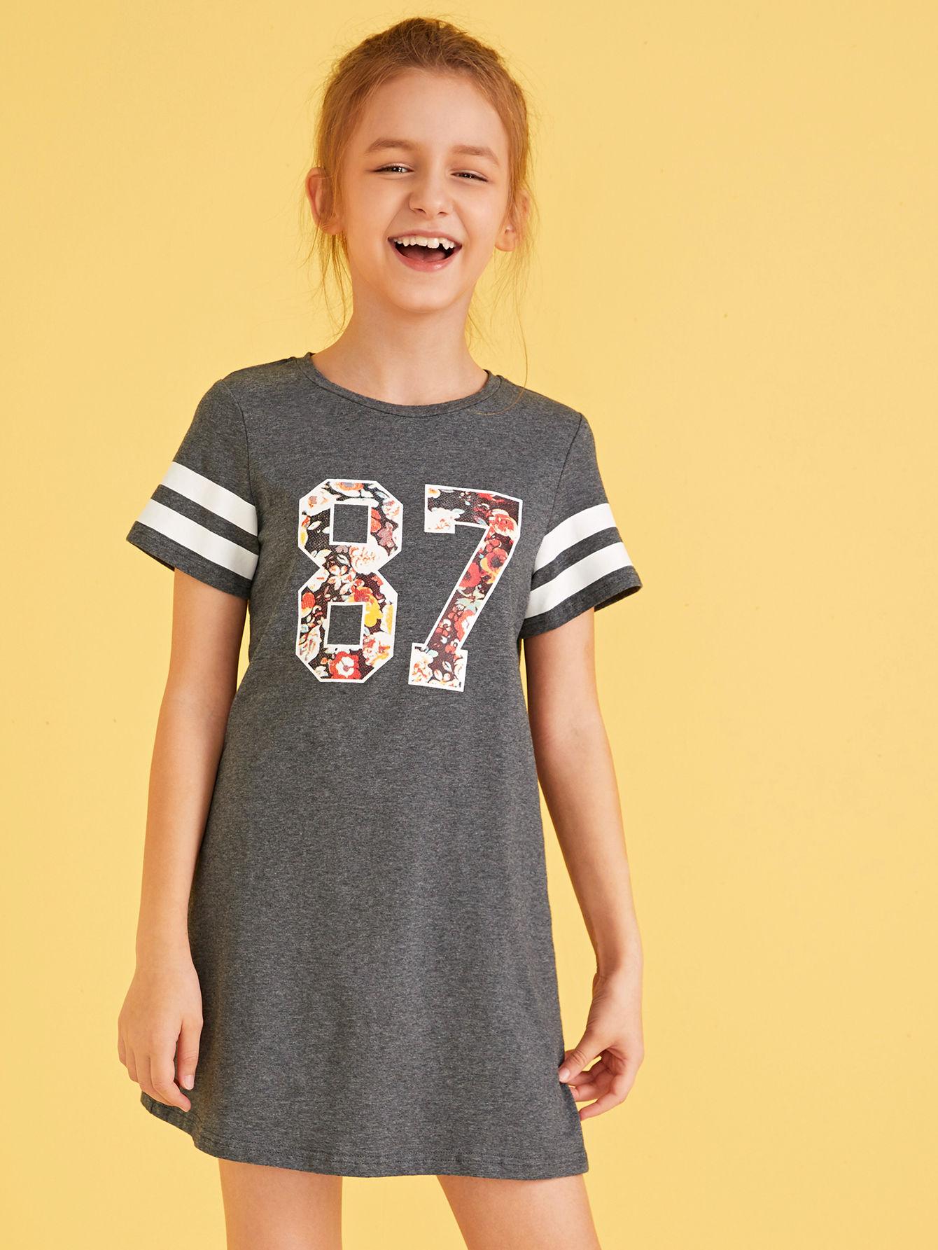 Фото - Платье-футболка с цветочным принтом и полосками для девочек от SheIn цвет серые