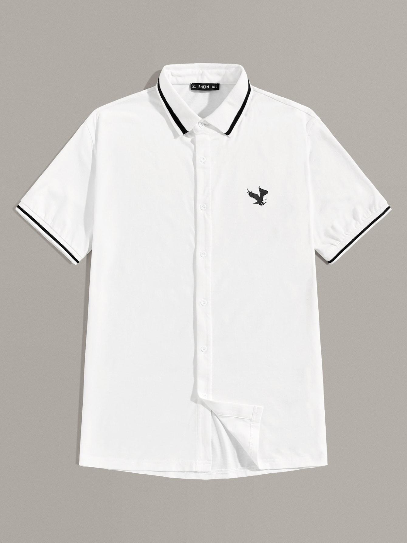 Фото - Мужская полосатая рубашка с графическим принтом от SheIn белого цвета