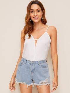 V Cut Solid Cami Top